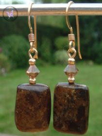 Bronzite & Swarovski Crystal Gold Earrings